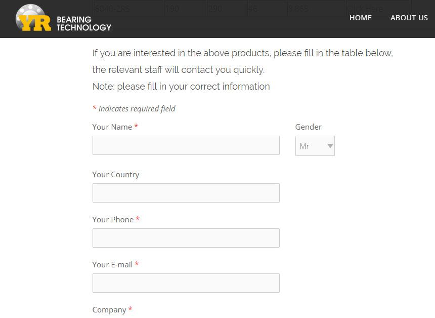 宇瑞轴承-网站设计-营销型思路完美体现在表单获客,获客路径清晰