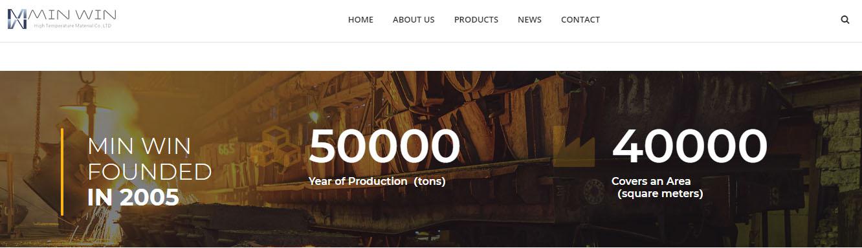 防火材料MinWin选择百客聚制作营销型网站-历史数据滚动显示-iStarto百客聚建站案例