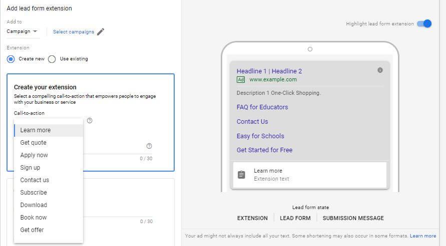 通过Google Ads最新的广告扩展测试来捕获潜在客户